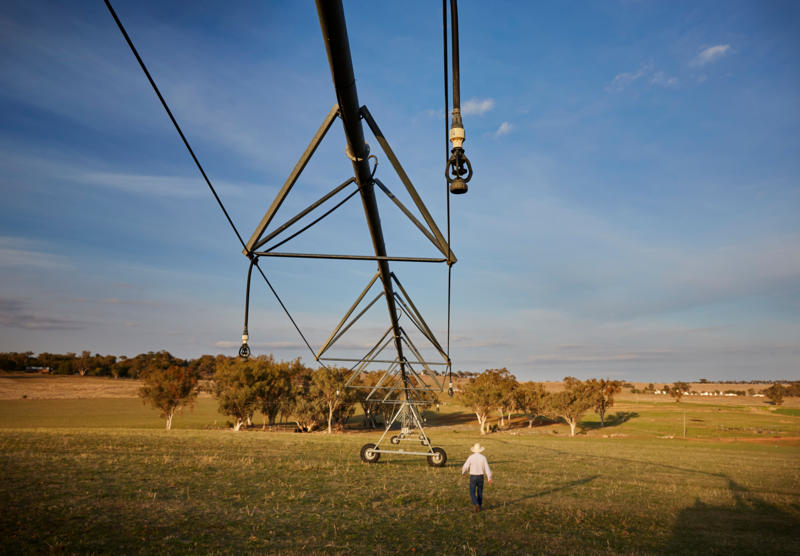 """Limestone Park"", Loomberah: On a hill overlooking his property,<img alt=' Bryce McMurtrie checks the Irrigator.'>"